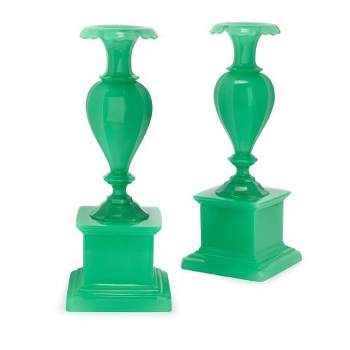 Pair Of Antique Bohemian Green Opalescent Glass Vases Mayfair Gallery