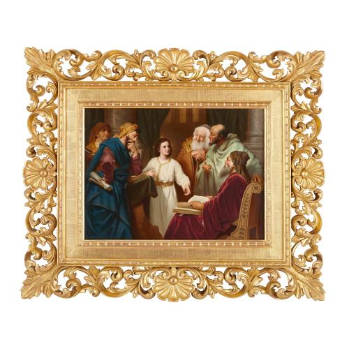 Large German KPM porcelain plaque of Christ in the Temple