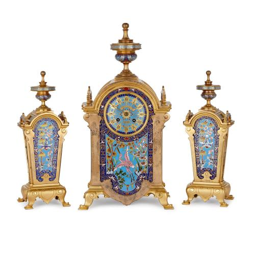 French ormolu and cloisonné enamel Orientalist clock set