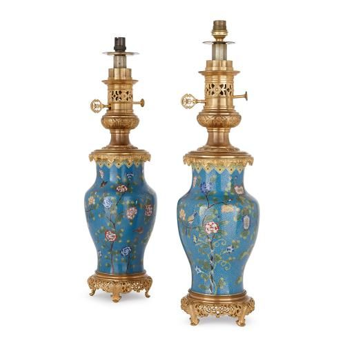Antique pair of ormolu mounted cloisonne enamel lamps