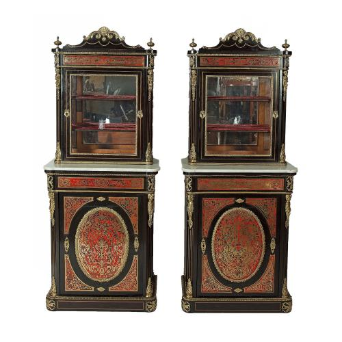 Pair of French Boulle antique vitrine cabinets, 19th Century