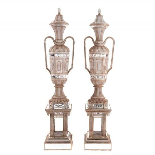 Monumental pair of cut glass antique Italian lamp vases