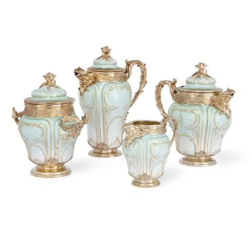 Silver gilt mounted porcelain antique tea and coffee service