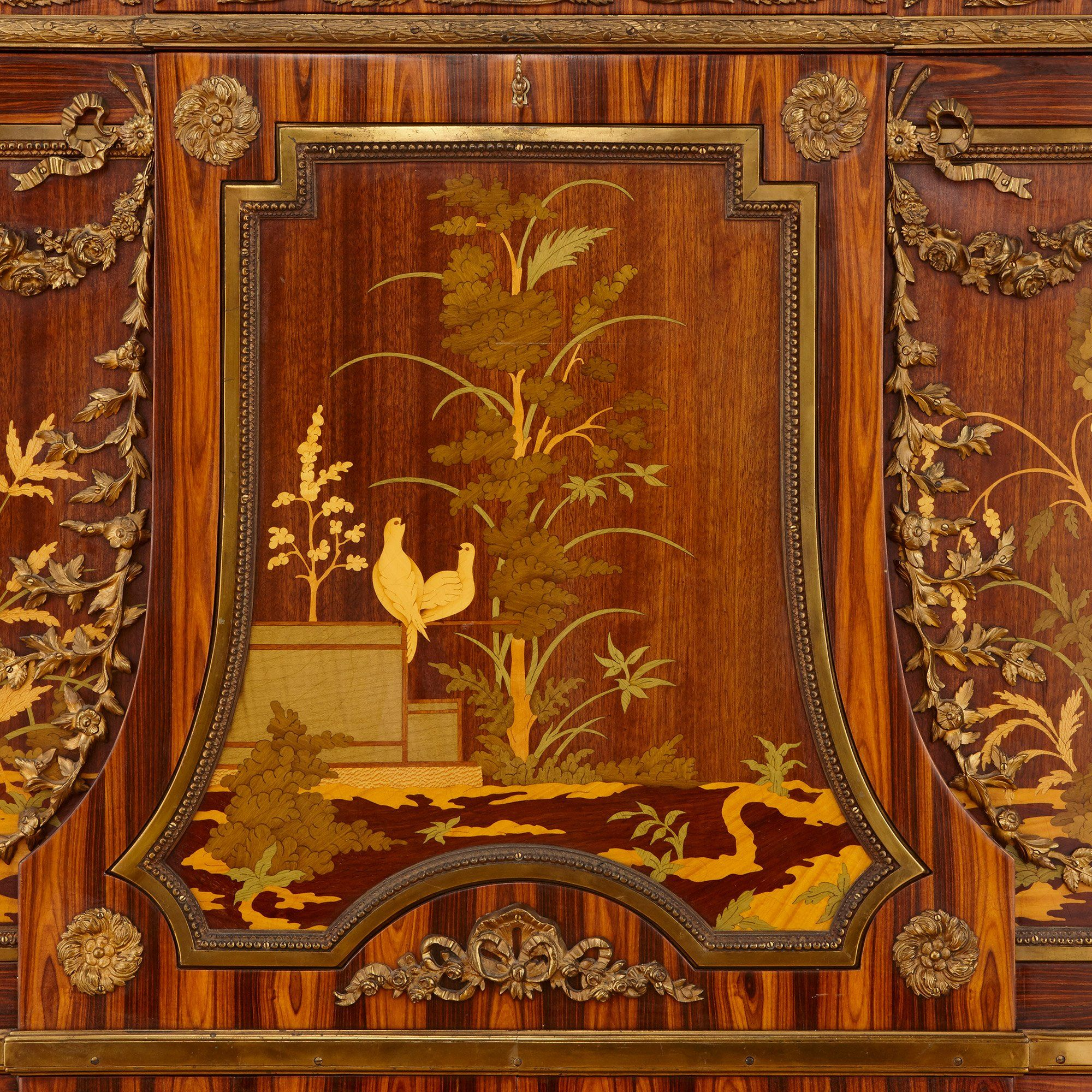 Ormolu Mounted Marquetry French Antique Secr 233 Taire