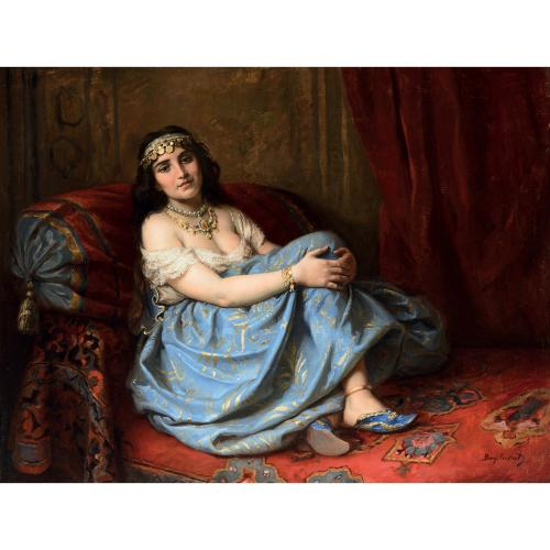 Large painting of a seated Odalisque by Benjamin-Constant