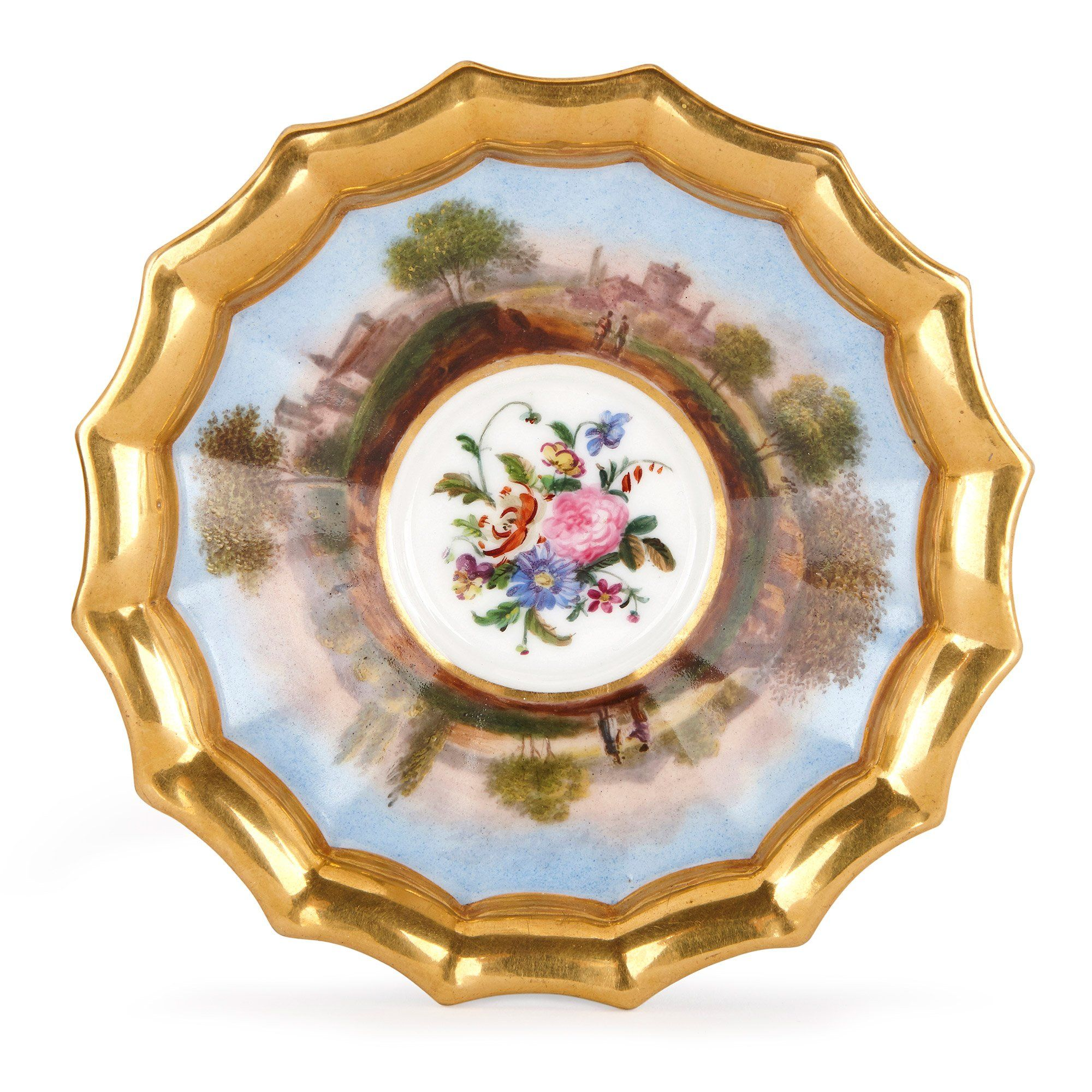 Antique French Neoclassical Style Paris Porcelain Tea Set