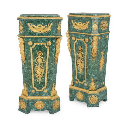 Pair of Neoclassical style ormolu mounted malachite pedestals