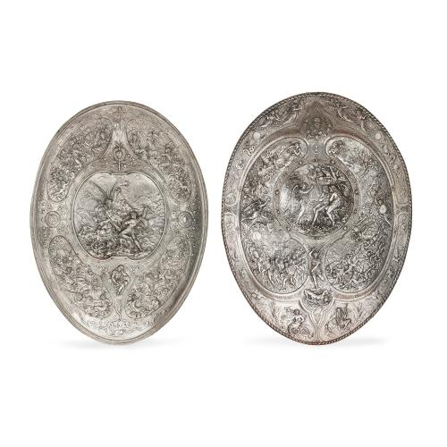 Two Elkington & Co. electroplated relief shields by Morel-Ladeuil