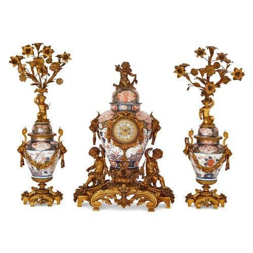 Ormolu mounted Japanese Imari porcelain clock set