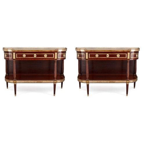 Pair of Louis XVI style ormolu mounted mahogany desserte consoles