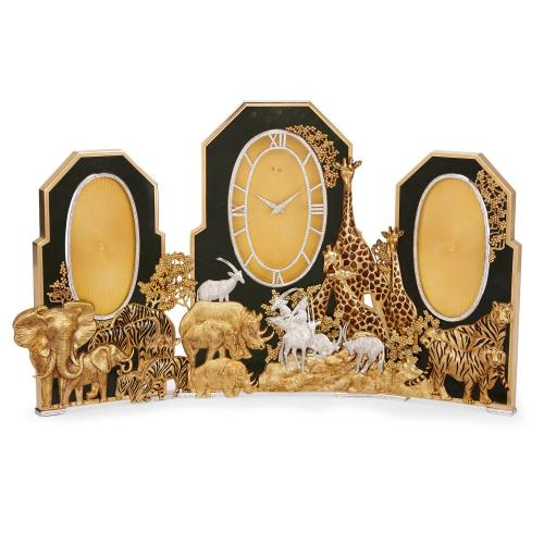 A large and impressive gold, nephrite, diamond and enamel table clock by Asprey