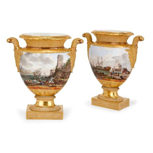 Pair of Restauration period porcelain vases by Schoelcher