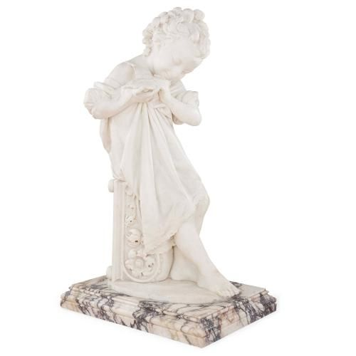 White marble figure of a Child holding a Bird by G. Monteverde