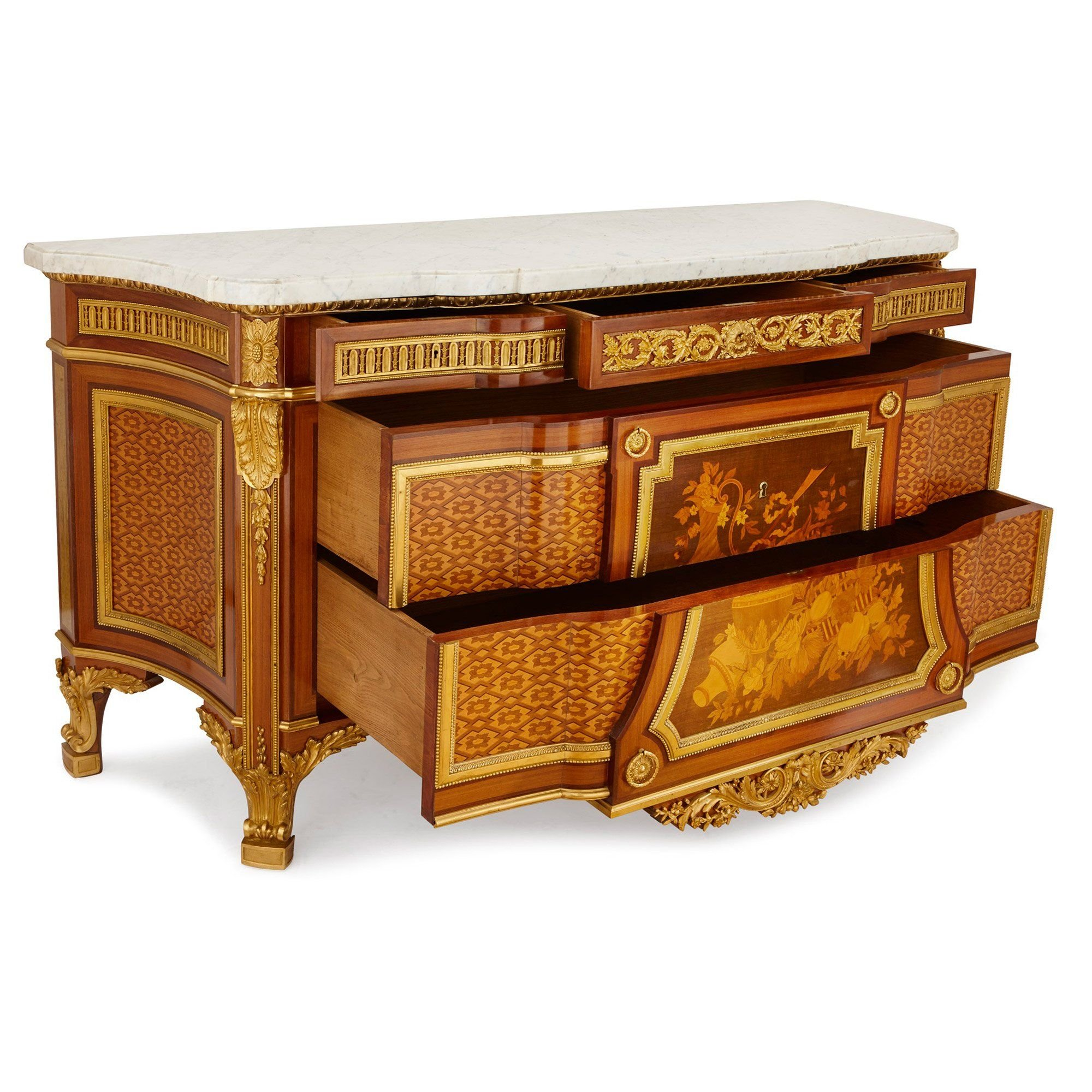 Antique French Marquetry Commode By Mercier Freres