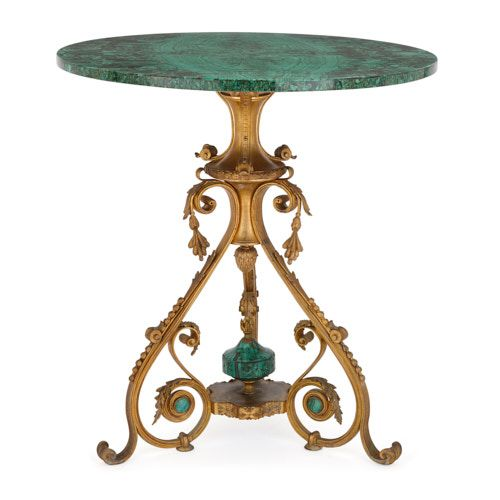 Antique Russian circular malachite and ormolu side table