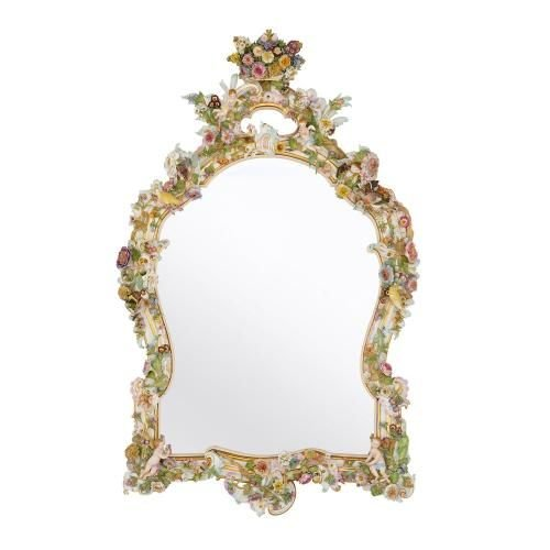 Large antique Meissen porcelain mirror