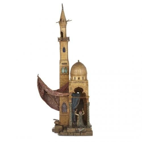 Cold painted Viennese bronze Orientalist lamp by Bergman