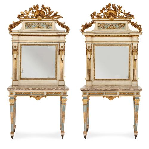 Pair of 18th Century giltwood mirrors and console tables
