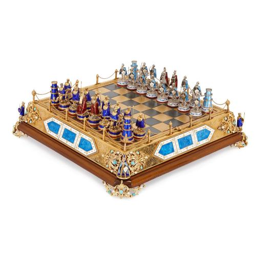 Precious stone, silver, gilt and enamel antique chess set