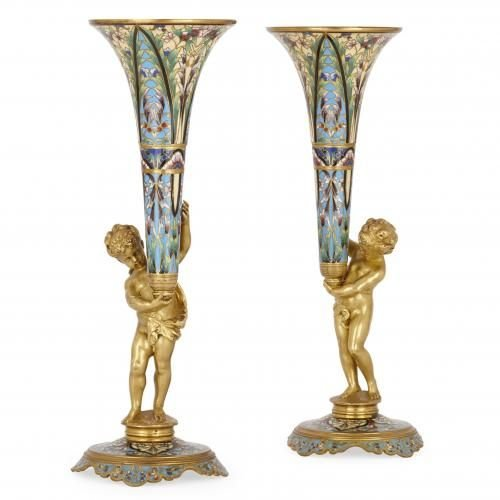 Pair Of Ormolu And Champlev Enamel Antique French Vases Mayfair