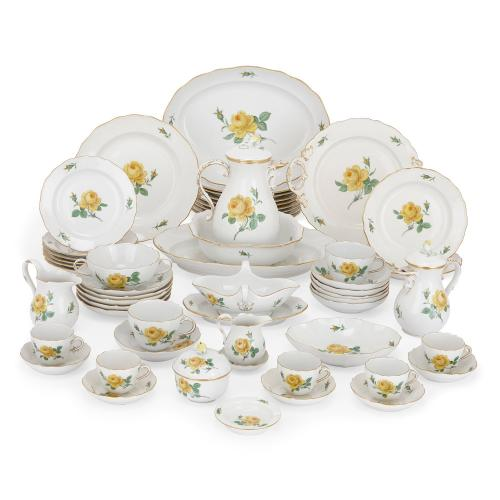 Twelve person Meissen porcelain floral dessert service
