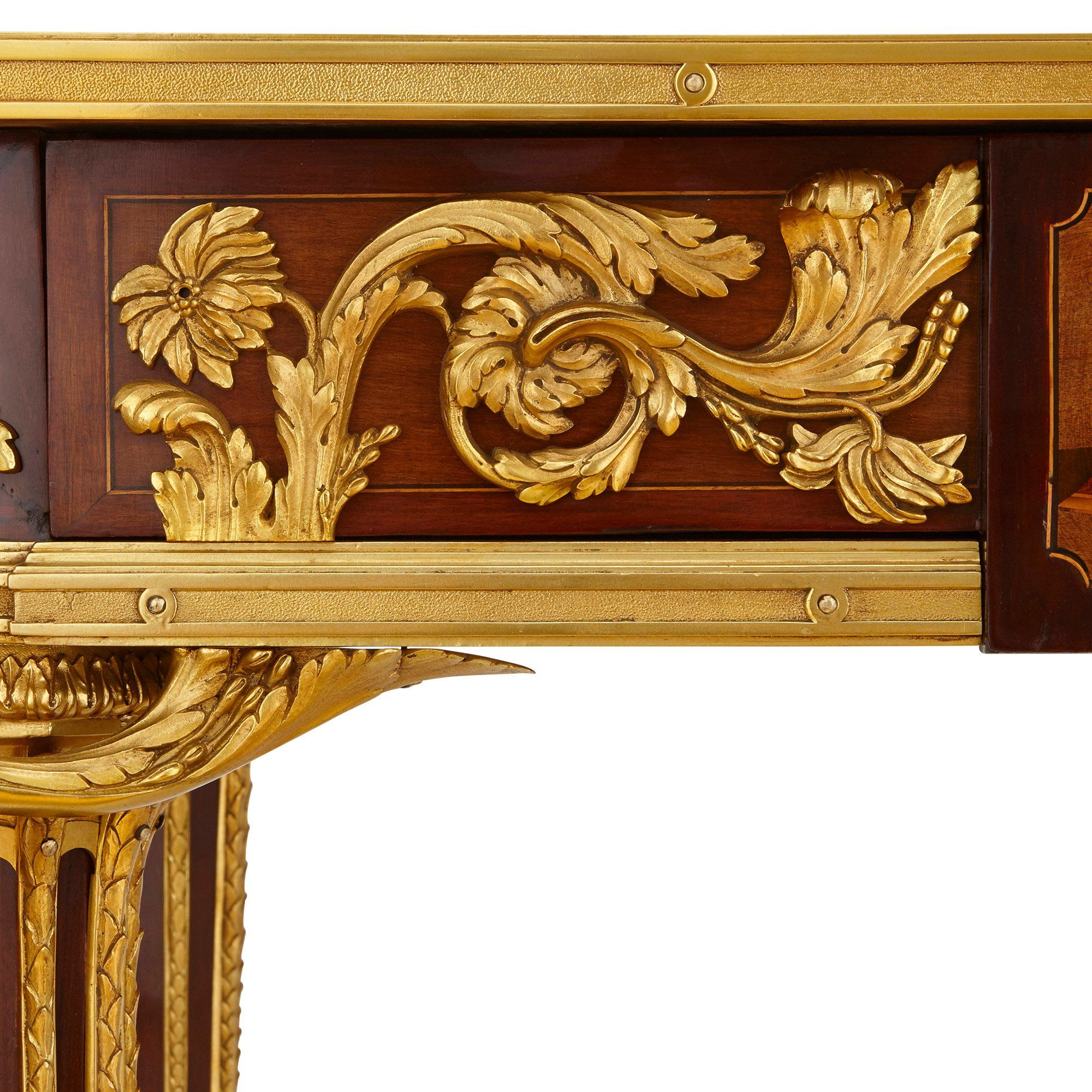 Neoclassical Style French Gilt Bronze Mounted Marquetry