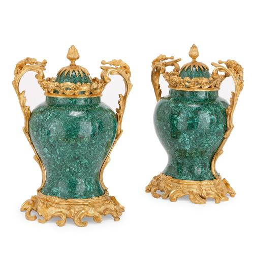 Pair of antique Rococo style malachite and ormolu vases