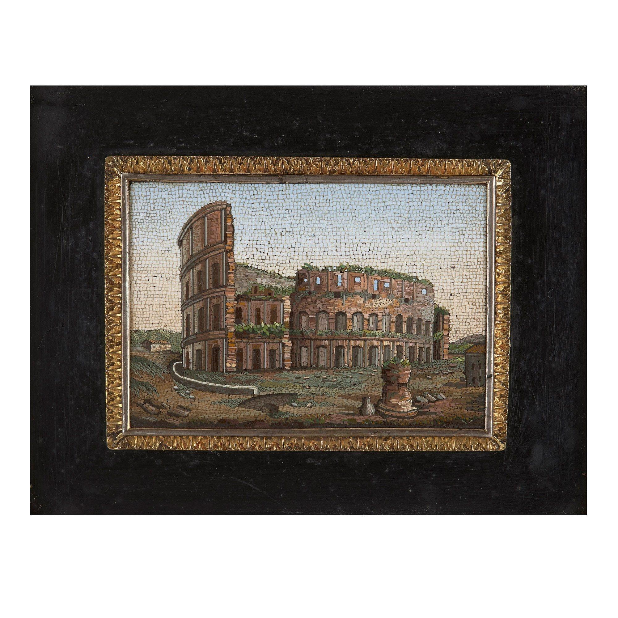 Antique Italian Micromosaic Plaque Depicting The Colosseum