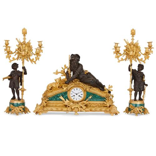 Ormolu, malachite and patinated bronze French antique clock set