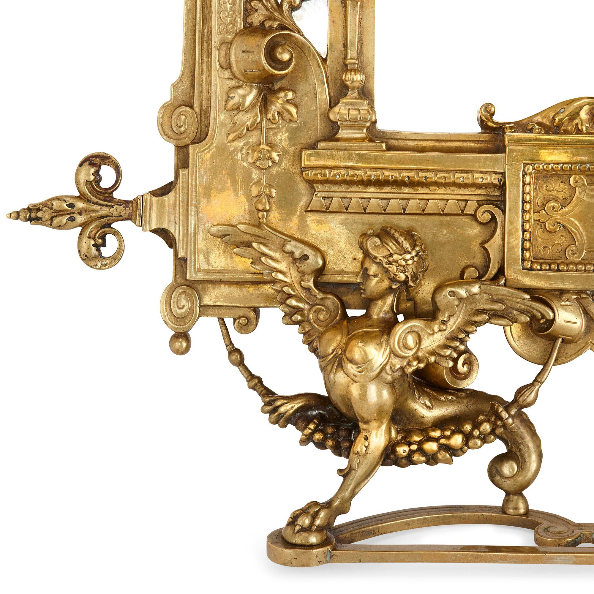 Antique French Empire Style Gilt Bronze Table Mirror