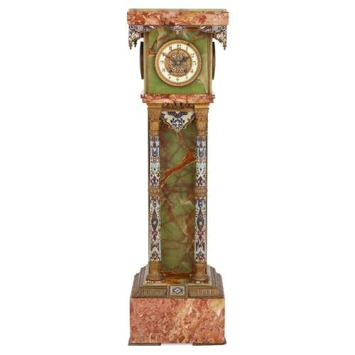 Antique ormolu and champleve enamel green and red onyx pedestal clock