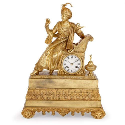 Antique Orientalist style French gilt bronze mantel clock