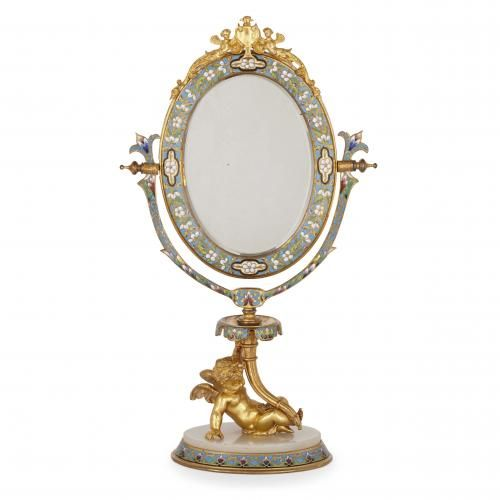 Ormolu, champlevé enamel and alabaster dressing table mirror
