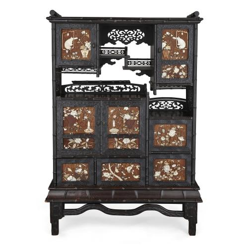 Large Meiji period inlaid hardwood cabinet on stand