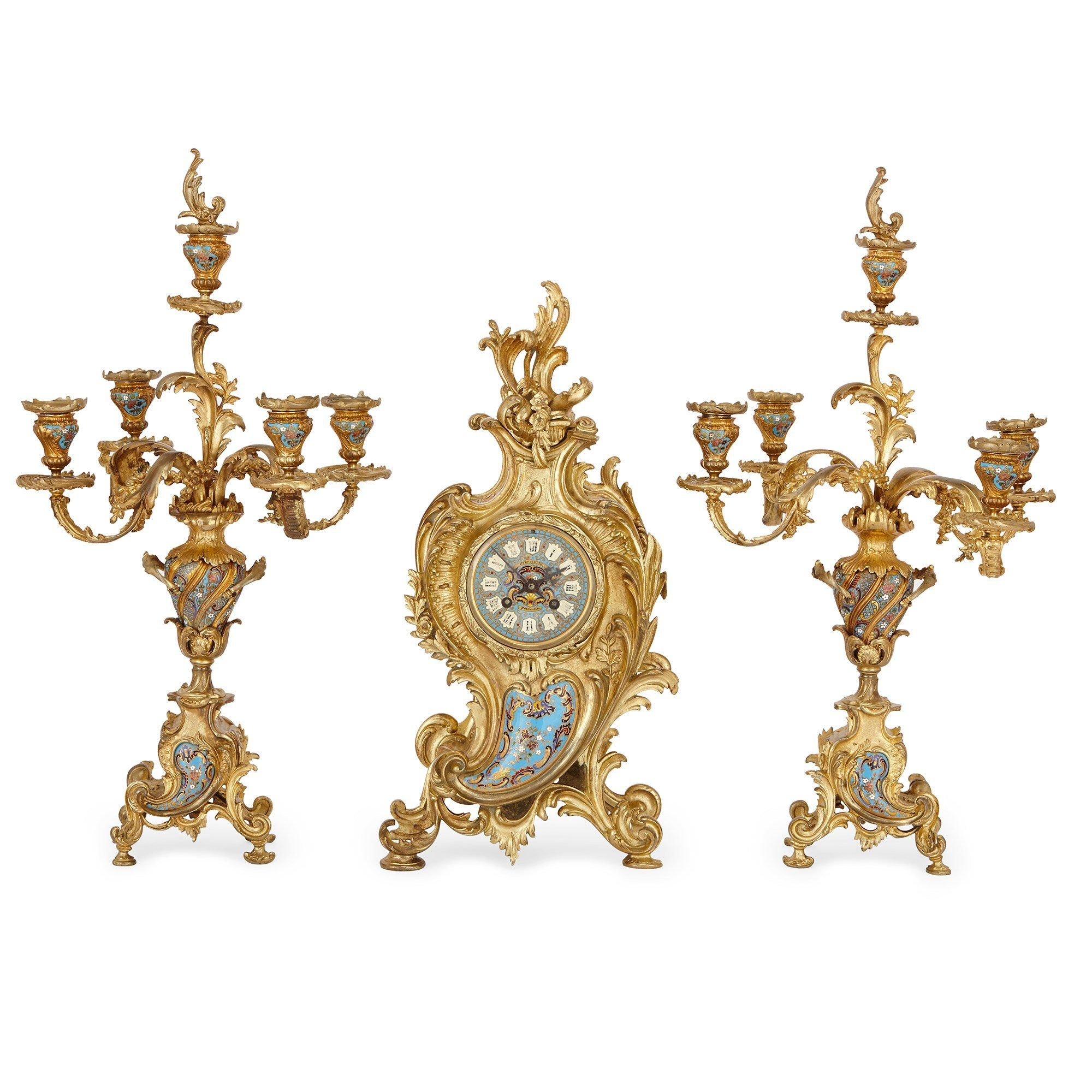 Rococo Style Champleve Enamel And Ormolu Three Piece Clock Set Mayfair Gallery
