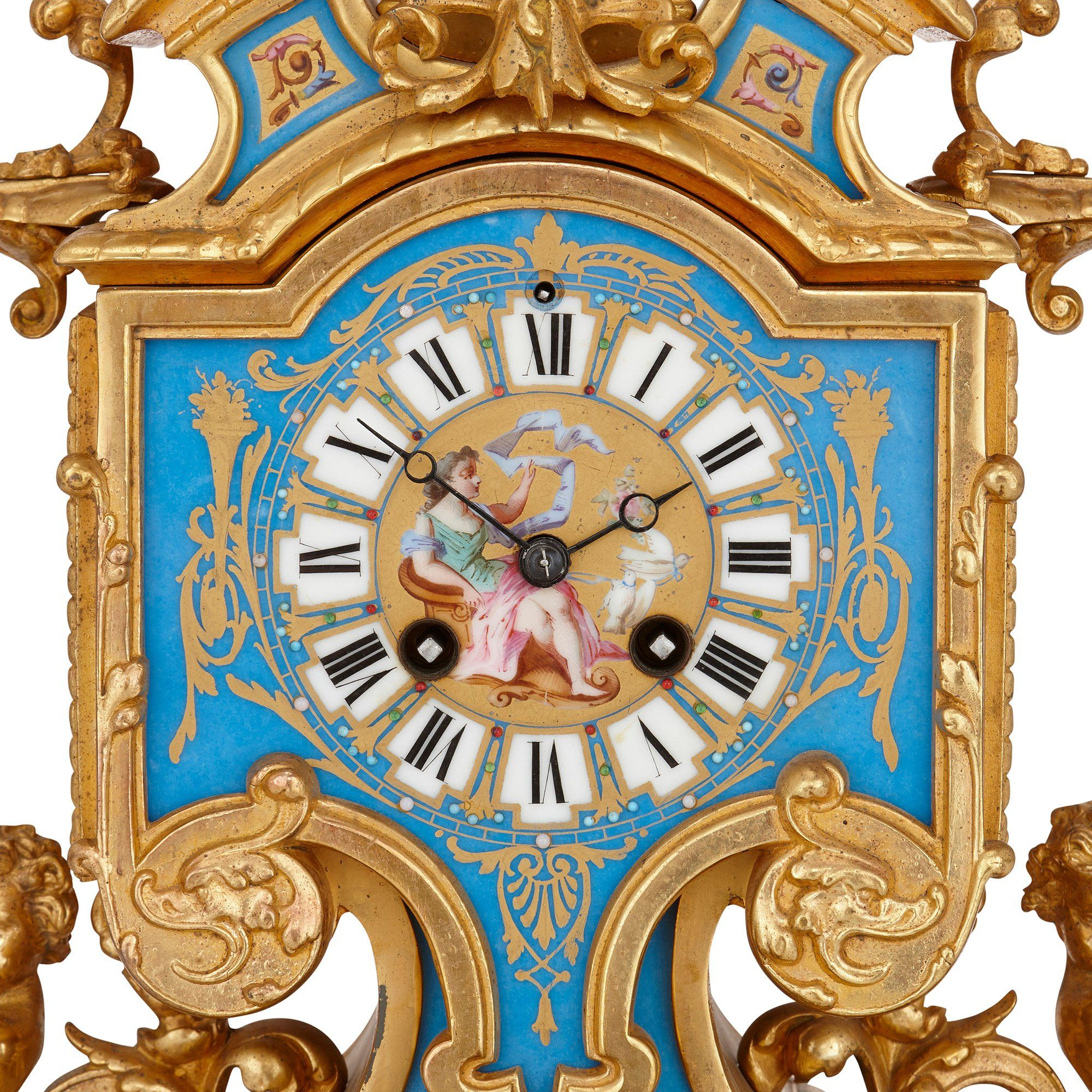 French Gilt Metal And Sevres Style Porcelain Clock Set Mayfair Gallery