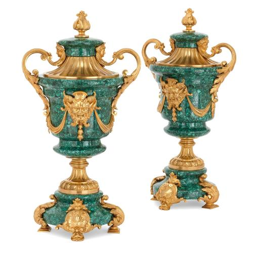 Pair of Grotesque Rococo style ormolu mounted malachite vases