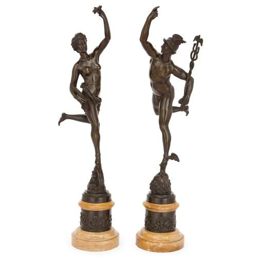 Pair of patinated bronze figures of Mercury and Fortuna