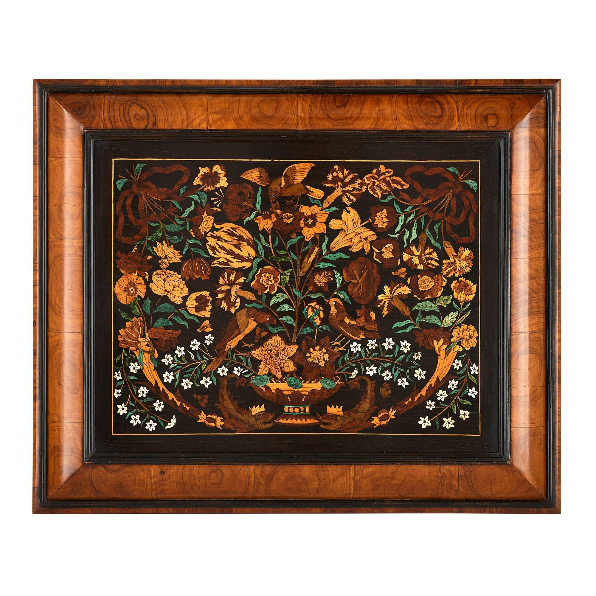 Antique French Exotic Wood Floral Marquetry Panel