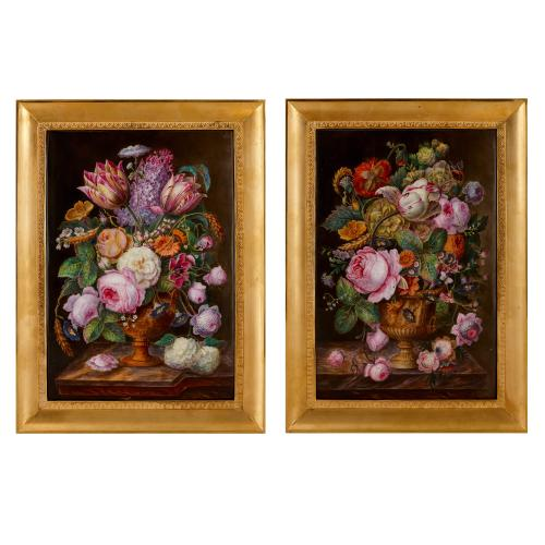 Pair of 19th Century still life porcelain plaques
