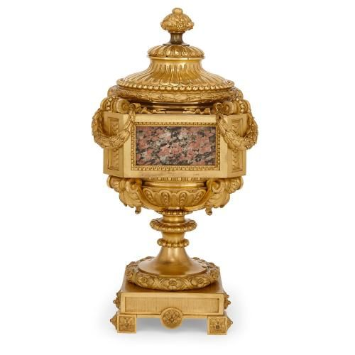 Marble mounted antique gilt bronze vase attributed to Picard