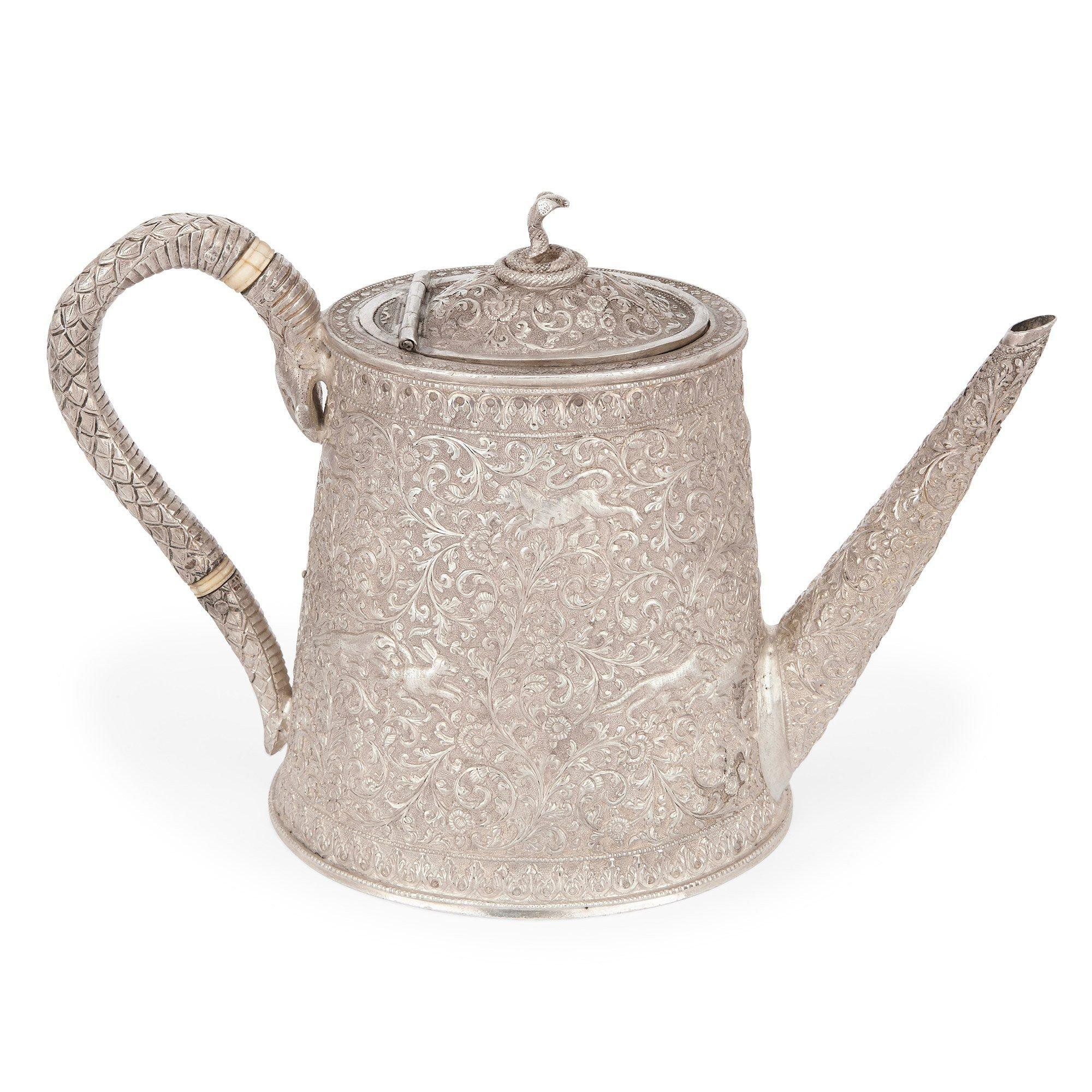 Antique Indian Silver Tea Set Kutch District Gujarat