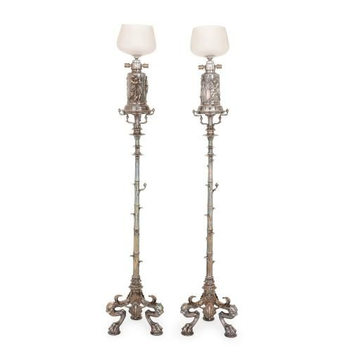Pair of large silvered bronze antique French floor lamps