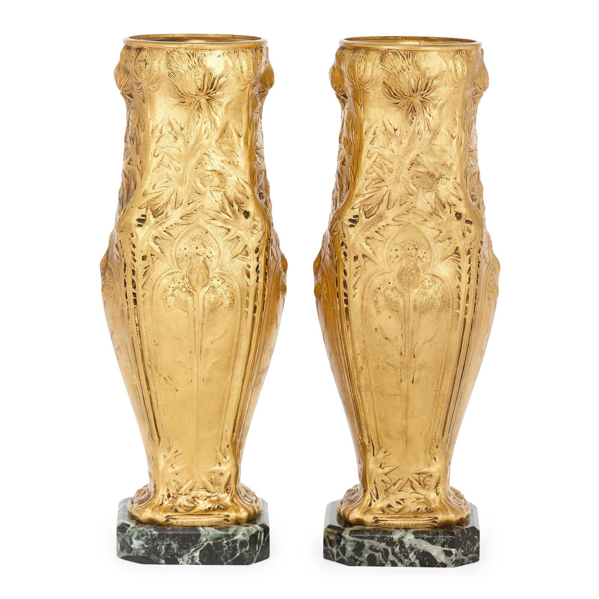 Pair of Art Nouveau ormolu and marble vases by Barbedienne   Mayfair ...