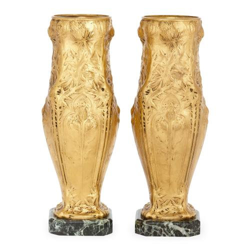 Pair of Art Nouveau ormolu and marble vases by Barbedienne