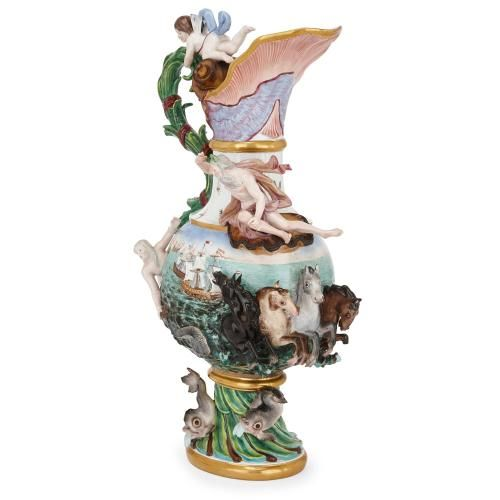 Large Meissen porcelain 'Elements' ewer, representing water