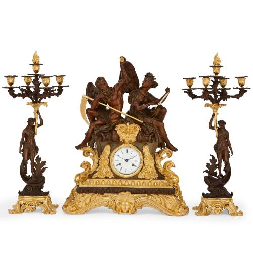 Large French antique clock set in gilt and patinated bronze