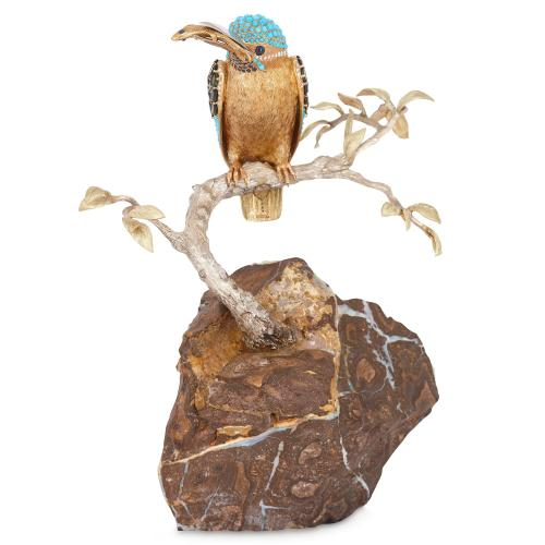 Gold and precious stone model of a kingfisher by Asprey