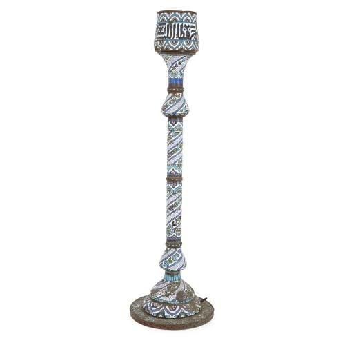 Large antique enamelled Syrian floor candlestick