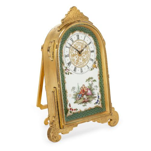 Victorian period porcelain and gilt brass strut clock